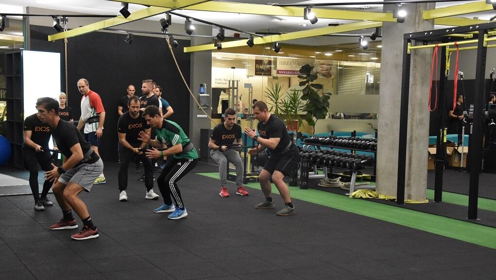 Edzőtermi gyakorlat az EXOS képzésen, Budapest 2018