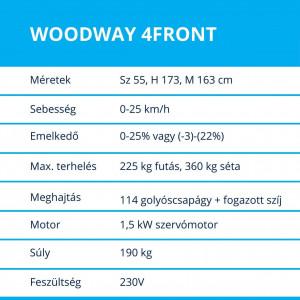 Woodway 4Front futópad termékadatok